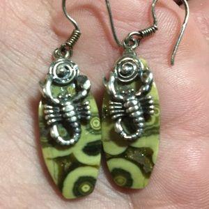 Vintage stone scorpion silver pierced earrings EUC